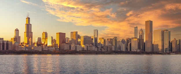 Chicago downtown skyline sunset lake michigan with buildings , illinois, us