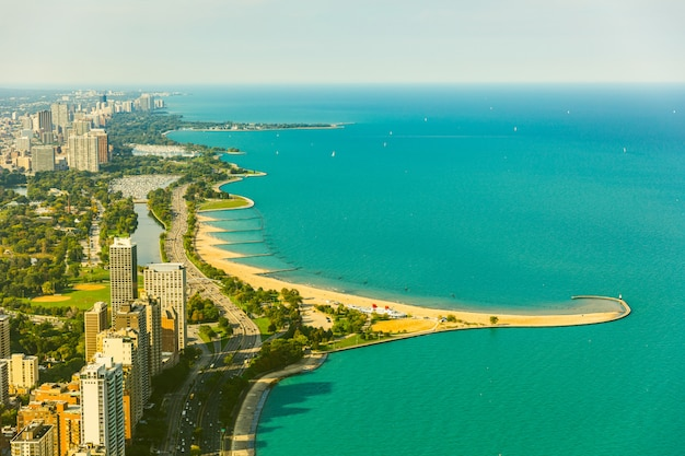 Chicago lakeside aerial view, toned image
