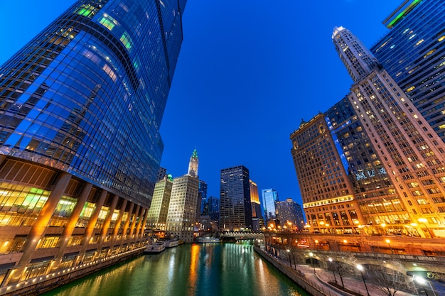 The chicago riverwalk cityscape river side, usa downtown skyline, architecture and building