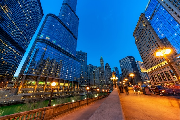 The chicago riverwalk cityscape river side, usa downtown skyline
