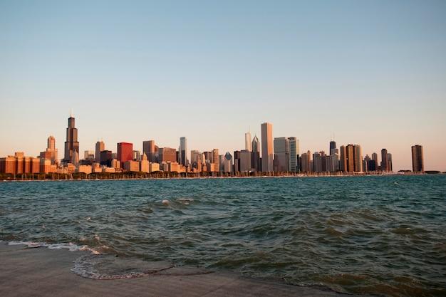 Chicago skyline, lake michigan