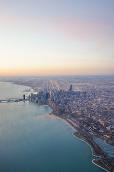 Chicago skyline sunrise with lake michigan