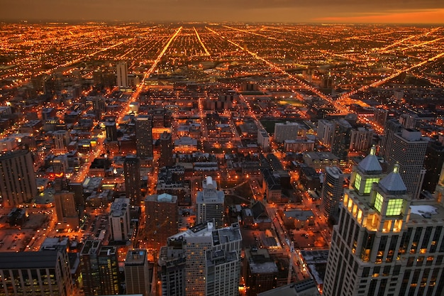 Chicago top view cityscape at dusk