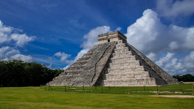 Chichen itza in clear sky