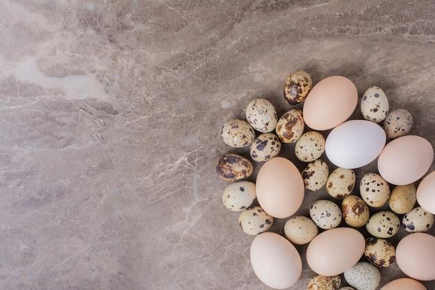 地面に鶏とウズラの卵