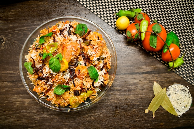 Chicken biryani food photography