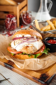 Chicken breast burger set with cheese sauce