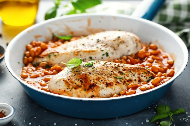 Chicken breast fillet cooked with beans and herbs