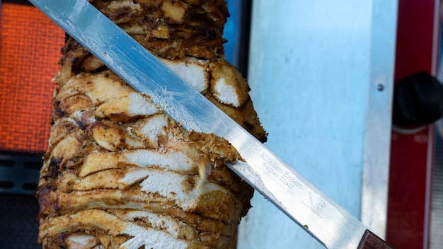 Chicken breast meat. the donor is sliced from the spin spit.