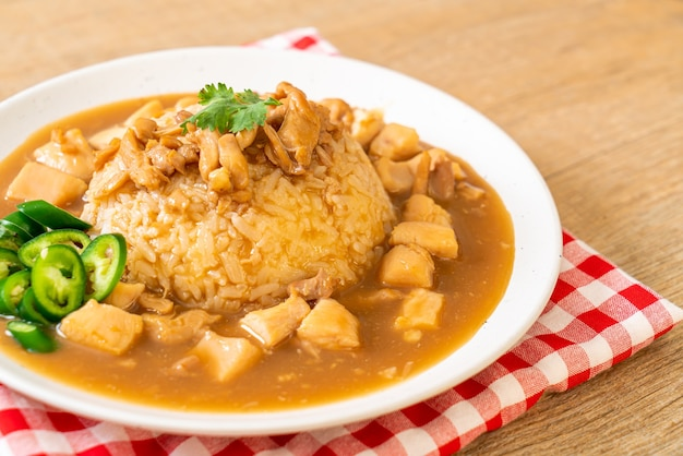 Chicken in brown sauce or gravy sauce with rice