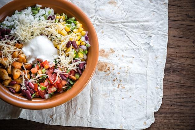 Chicken burrito bowl flat lay