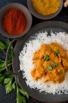 ご飯とスパイスのチキンカレー-伝統的な人気のインド料理