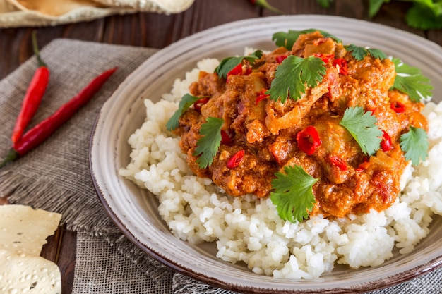 Chicken curry with rice and cilantro