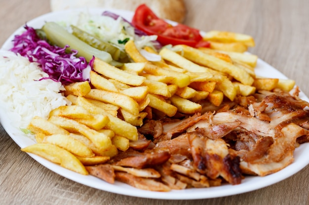 Chicken doner kebab and vegetables