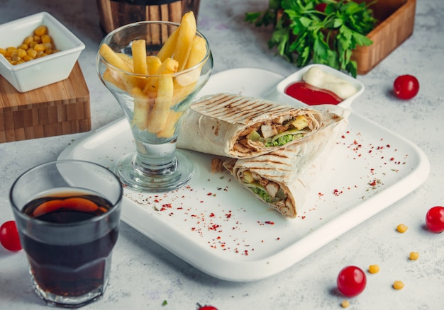Chicken doner in lavash with french fries and cola