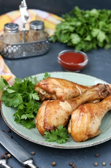 Chicken drumsticks, baked in a marinade of ketchup