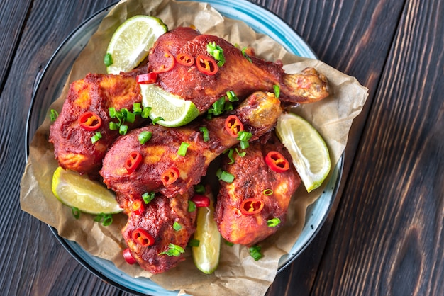 Chicken drumsticks in barbecue sauce