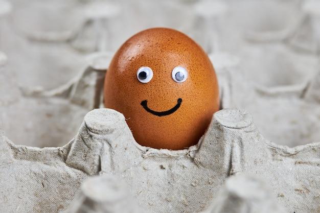 紙の卵トレイに顔のある鶏卵