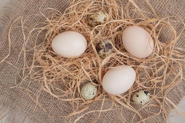 Uovo di gallina con uova di quaglia e fieno su tela di sacco.