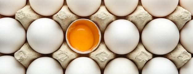 Chicken eggs in carton box as table