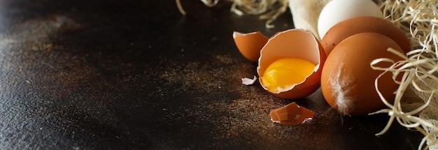 鶏卵は暗い背景にクローズアップ