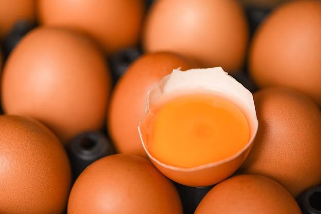 Куриные яйца собирают из сельскохозяйственных продуктов, концепция естественного здорового питания - свежий разбитый яичный желток