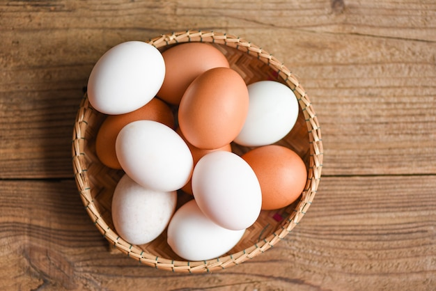 Chicken eggs and duck eggs collect from farm products natural, fresh egg