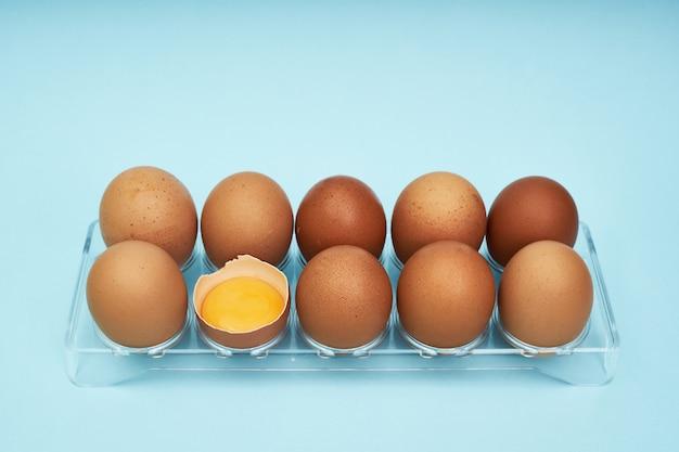 Chicken eggs in an egg holder. full tray of eggs. half an egg, egg yolk, shell