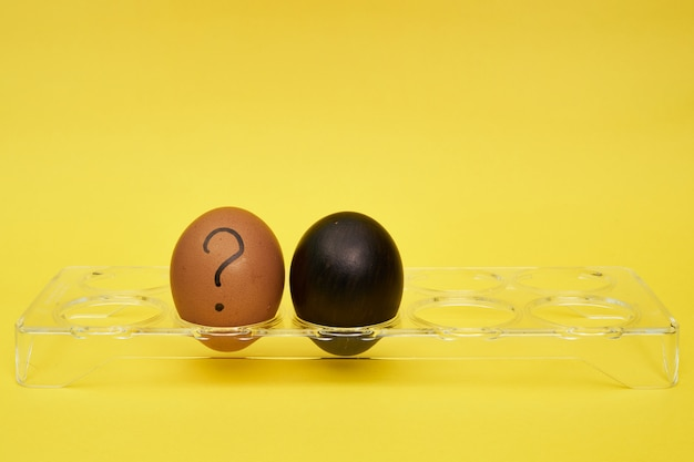 Chicken eggs in an egg stand. half an egg, egg yolk, shell. emotions and facial expressions on eggs, a question mark on an egg. black egg.