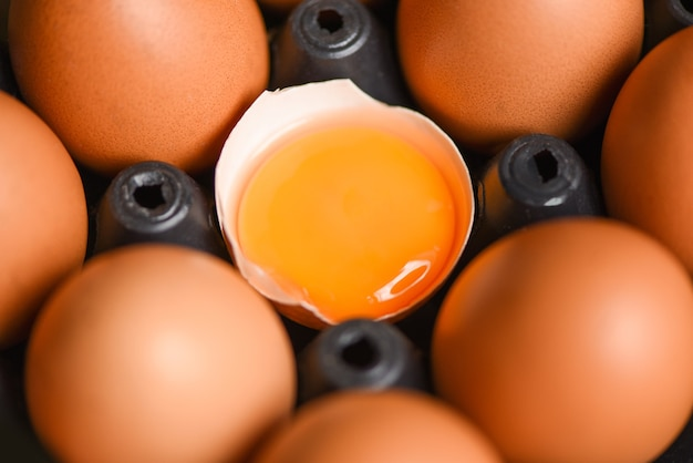 Куриные яйца из фермерских продуктов, натуральные в коробке, концепция здорового питания