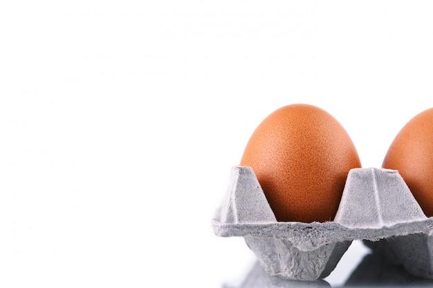 격리 된 흰색 배경에 골 판지 상자에 닭고기 달걀.