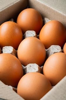 검은 배경에 계란 상자 트레이 세트에 닭고기 달걀