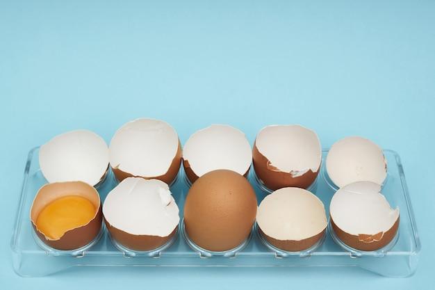 卵ホルダーに鶏の卵。卵の完全なトレイ。半分の卵、卵黄、殻。