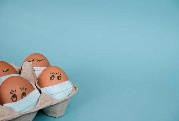 얼굴에 의료 마스크에 닭고기 달걀