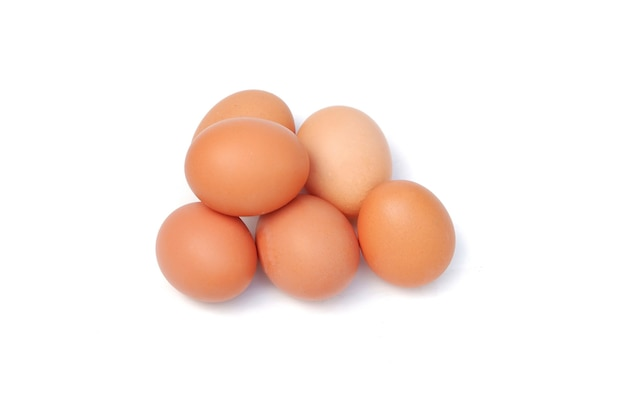 Chicken eggs isolated on a white background