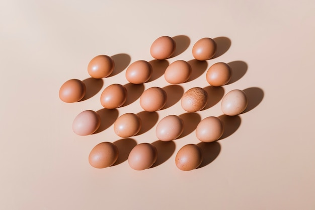テーブル上の鶏の卵を揃え