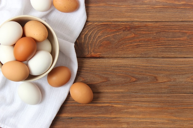 Chicken eggs on the table farm products natural eggs
