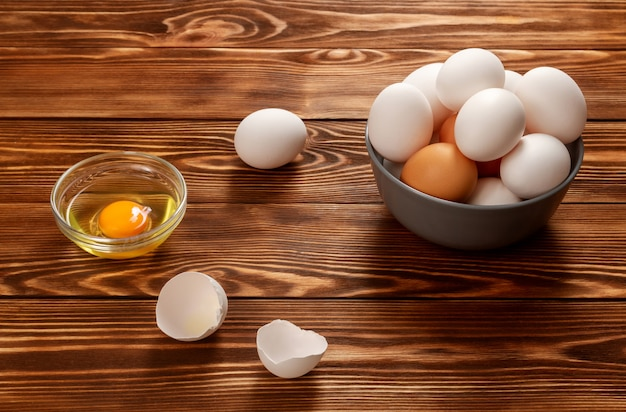 Chicken eggs on a wooden rustic table. healthy food. diet food.