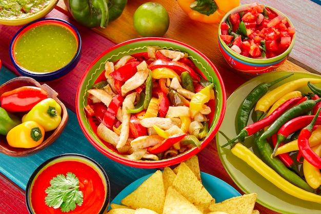 Chicken fajitas mexican guacamole pico gallo chili