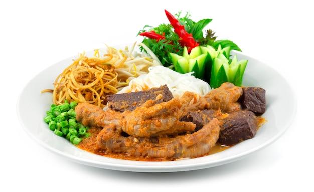 鶏の足ココナッツミルクスープのレッドカレー発酵ライスヌードルが野菜を飾るタイのストリートフードフュージョンスタイル