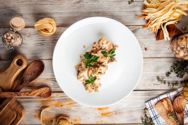 Chicken fillet with mushrooms and creamy sauce