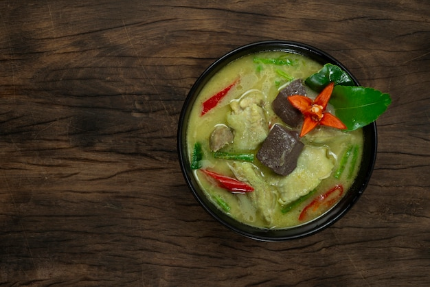 Chicken green curry with coconut milk sweet and spicy tasty thai food