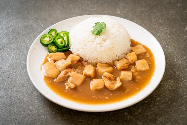 치킨 브라운 소스 또는 그레이비 소스와 쌀-아시아 음식 스타일
