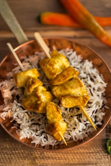 Chicken kebab and rice