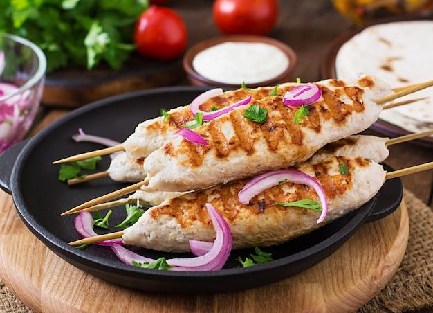 鶏肉のケバブと野菜のグリル