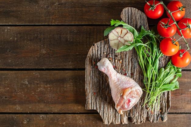 닭 다리 고기 원시 피부 뼈 육계 신선한 조각