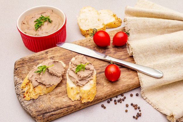 Chicken liver pate with butter.