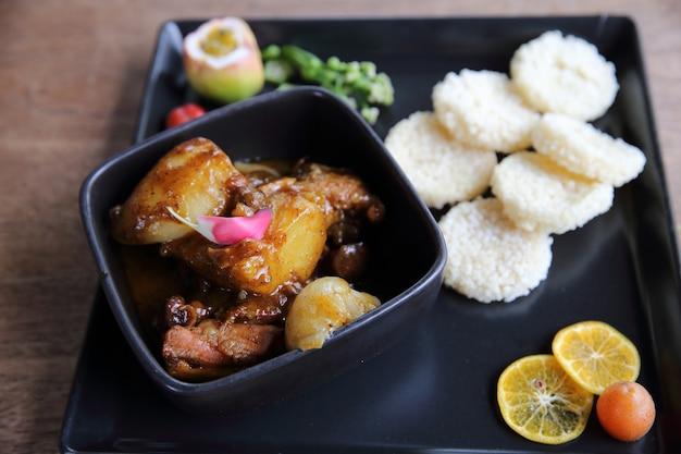 Chicken massaman curry, thai cuisine