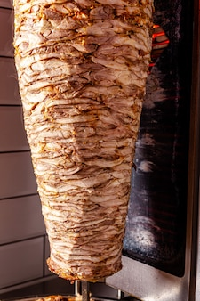 Chicken meat for a doner kebab