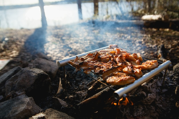 Chicken meat on fire camp. portable stainless steel bbq grill hiking concept. cooking on wild nature.